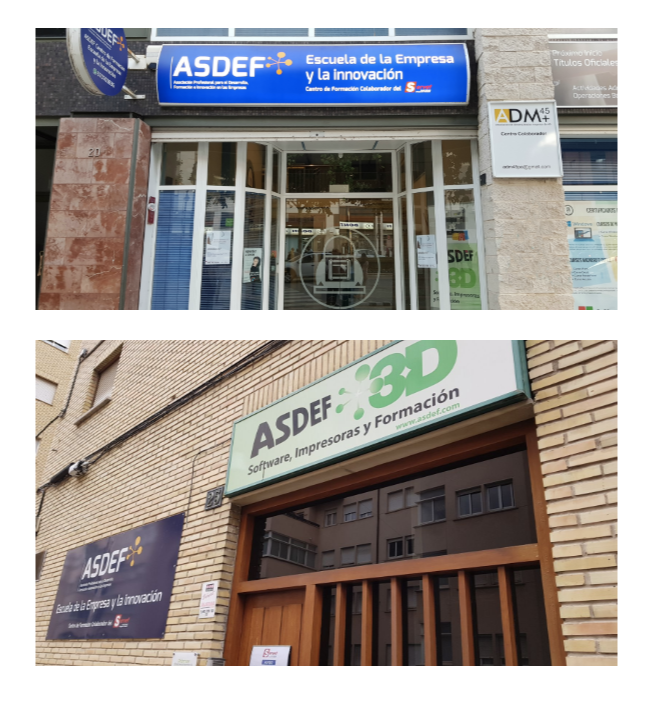 Arriba, sede de la nueva Agencia de Colocación de ASDEF. Abajo, sus oficinas centrales en c/Murillo, 25