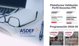 ASDEF ha presentado su Plataforma de Validación de Docentes de FPE para 2019-20
